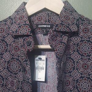 Express slim red blue button down shirt